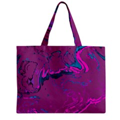 Unique Marbled 2 Hot Pink Zipper Tiny Tote Bags