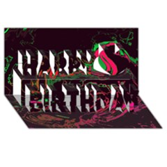 Unique Marbled 2 Tropic Happy Birthday 3d Greeting Card (8x4)