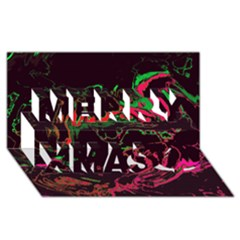 Unique Marbled 2 Tropic Merry Xmas 3D Greeting Card (8x4)