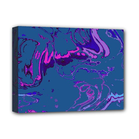 Unique Marbled 2 Blue Deluxe Canvas 16  x 12