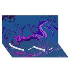 Unique Marbled 2 Blue Twin Heart Bottom 3D Greeting Card (8x4)