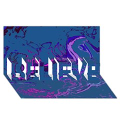 Unique Marbled 2 Blue BELIEVE 3D Greeting Card (8x4)