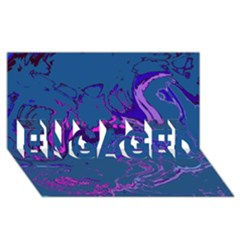 Unique Marbled 2 Blue Engaged 3d Greeting Card (8x4)