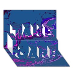 Unique Marbled 2 Blue TAKE CARE 3D Greeting Card (7x5)