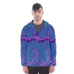 Unique Marbled 2 Blue Hooded Wind Breaker (Men)
