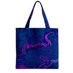 Unique Marbled 2 Blue Zipper Grocery Tote Bags
