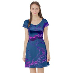 Unique Marbled 2 Blue Short Sleeve Skater Dresses