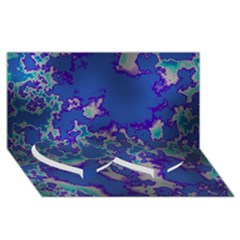 Unique Marbled Blue Twin Heart Bottom 3d Greeting Card (8x4)