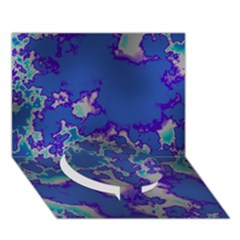 Unique Marbled Blue Circle Bottom 3D Greeting Card (7x5)