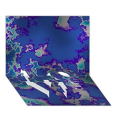 Unique Marbled Blue Love Bottom 3d Greeting Card (7x5)