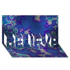 Unique Marbled Blue BELIEVE 3D Greeting Card (8x4)