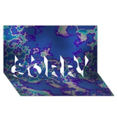 Unique Marbled Blue SORRY 3D Greeting Card (8x4)
