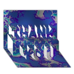Unique Marbled Blue Thank You 3d Greeting Card (7x5)
