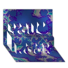 Unique Marbled Blue You Rock 3d Greeting Card (7x5)