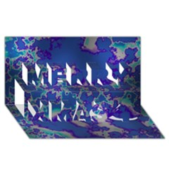 Unique Marbled Blue Merry Xmas 3D Greeting Card (8x4)
