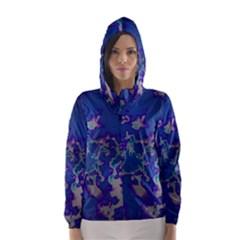 Unique Marbled Blue Hooded Wind Breaker (women)