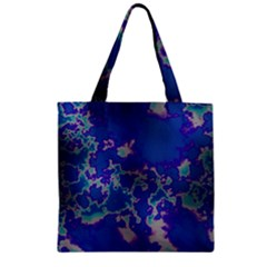Unique Marbled Blue Zipper Grocery Tote Bags