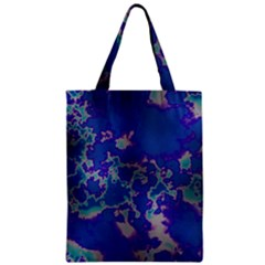 Unique Marbled Blue Zipper Classic Tote Bags