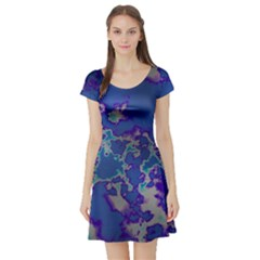 Unique Marbled Blue Short Sleeve Skater Dresses