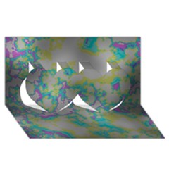 Unique Marbled Candy Twin Hearts 3D Greeting Card (8x4)