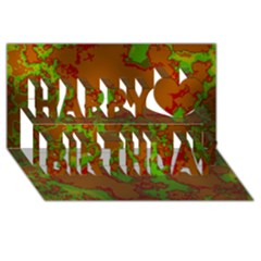 Unique Marbled Hot Happy Birthday 3d Greeting Card (8x4)