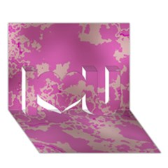 Unique Marbled Pink I Love You 3D Greeting Card (7x5)