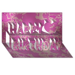Unique Marbled Pink Happy Birthday 3D Greeting Card (8x4)