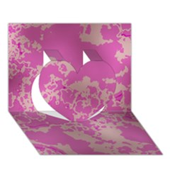 Unique Marbled Pink Heart 3d Greeting Card (7x5)