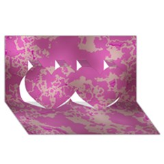 Unique Marbled Pink Twin Hearts 3D Greeting Card (8x4)