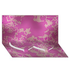 Unique Marbled Pink Twin Heart Bottom 3D Greeting Card (8x4)