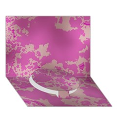 Unique Marbled Pink Circle Bottom 3d Greeting Card (7x5)
