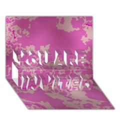 Unique Marbled Pink You Are Invited 3d Greeting Card (7x5)