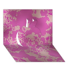 Unique Marbled Pink Apple 3D Greeting Card (7x5)