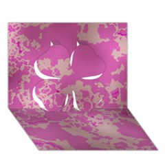 Unique Marbled Pink Clover 3D Greeting Card (7x5)