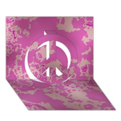 Unique Marbled Pink Peace Sign 3D Greeting Card (7x5)