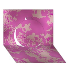 Unique Marbled Pink Circle 3D Greeting Card (7x5)