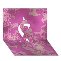 Unique Marbled Pink Ribbon 3D Greeting Card (7x5)