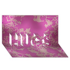 Unique Marbled Pink HUGS 3D Greeting Card (8x4)