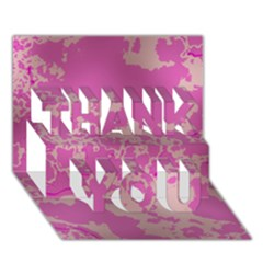 Unique Marbled Pink THANK YOU 3D Greeting Card (7x5)