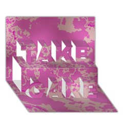Unique Marbled Pink TAKE CARE 3D Greeting Card (7x5)