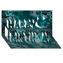 Unique Marbled Teal Happy Birthday 3d Greeting Card (8x4)