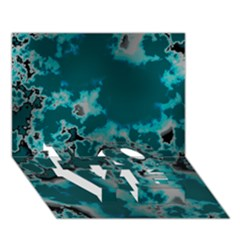 Unique Marbled Teal LOVE Bottom 3D Greeting Card (7x5)