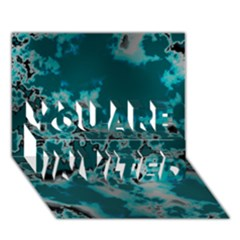 Unique Marbled Teal YOU ARE INVITED 3D Greeting Card (7x5)