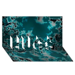 Unique Marbled Teal HUGS 3D Greeting Card (8x4)