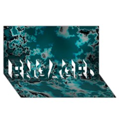 Unique Marbled Teal ENGAGED 3D Greeting Card (8x4)