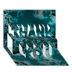 Unique Marbled Teal Thank You 3d Greeting Card (7x5)