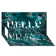 Unique Marbled Teal Merry Xmas 3D Greeting Card (8x4)