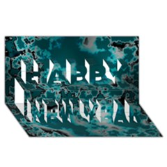 Unique Marbled Teal Happy New Year 3d Greeting Card (8x4)