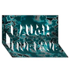 Unique Marbled Teal Laugh Live Love 3d Greeting Card (8x4)