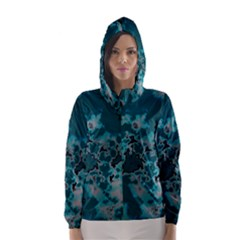 Unique Marbled Teal Hooded Wind Breaker (women)